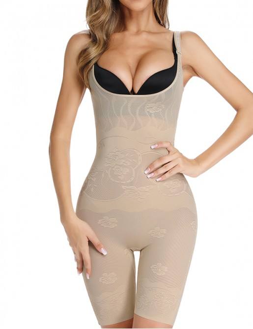 Thigh Slimmer Bodysuit Full Tummy Control Shapewear with Back Open Butt