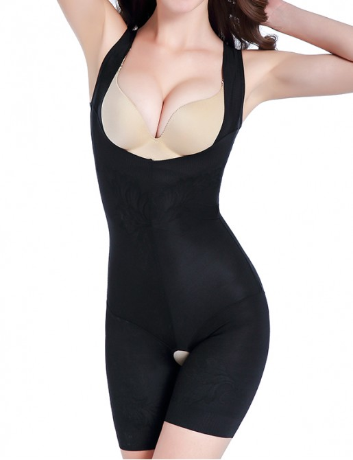 【 BEST SELLER  】Open Bust Full Body Control Shapewear Wider Straps Mid Thigh Bodysuit