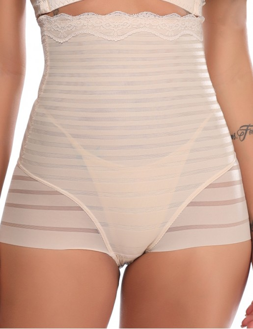 High Waist Tummy Control Panties Seamless Stripe Butt Lifter Shapewear
