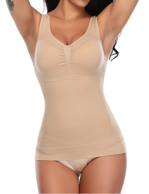 Built in Removable Padded Bra Tank Tops Tummy Control Slimming Camisole